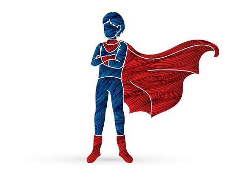 Super Hero Man standing with costume cartoon graphic vector.