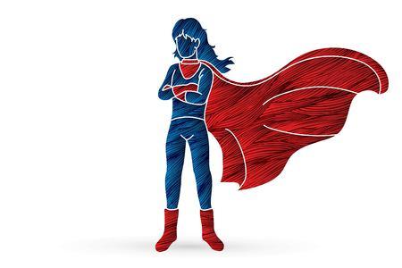 Super Hero Woman standing with costume cartoon graphic vector.