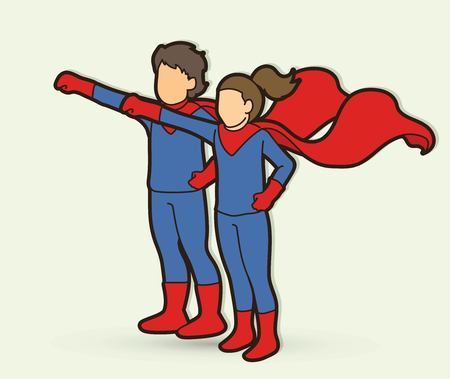 Little Super Hero Boy and Girl standing together with costume cartoon graphic vector.