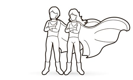 Super Hero Man and Woman standing together with costume cartoon graphic vector.