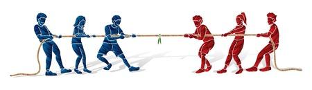 Kinderen spelen touwtrekken cartoon grafische vector