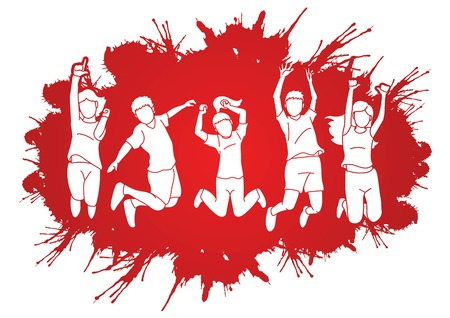 Group of children jumping on splatter ink cartoon graphic vector.