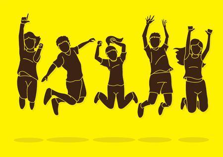 Group of children jumping, Happy Feel good cartoon graphic vector. Ilustracja