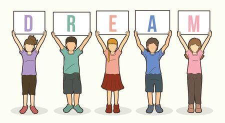 Children with DREAM board graphic vector.