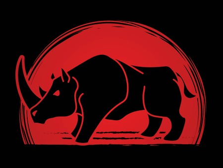 Angry Rhino cartoon graphic vector.