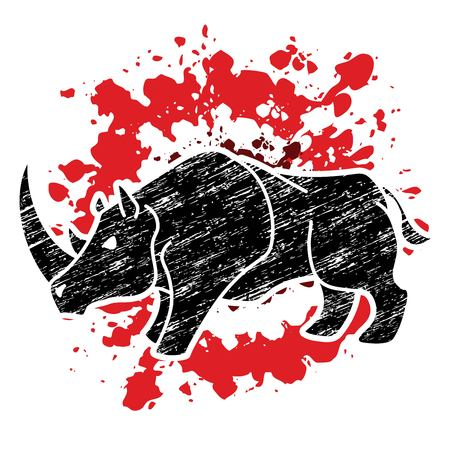 Angry Rhino cartoon graphic vector.