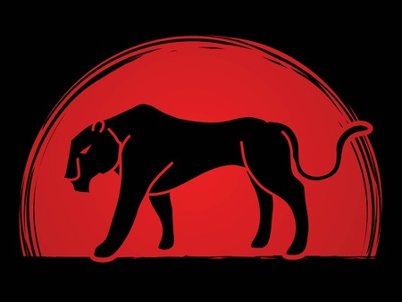 Panther tiger cartoon graphic vector.