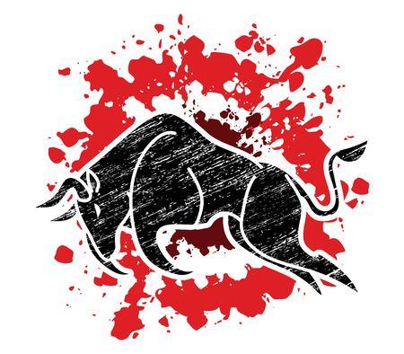 Bull charging, Bull attack graphic vector