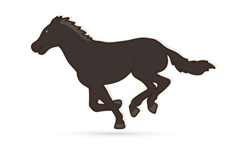 Horse racing running cartoon graphic vector Ilustracja
