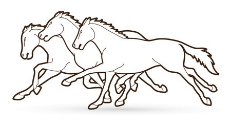 Group of Horses running cartoon graphic vector