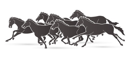 Group of seven Horses running cartoon graphic vector Ilustracja