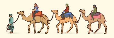 Cameleer with camels cartoon graphic vector