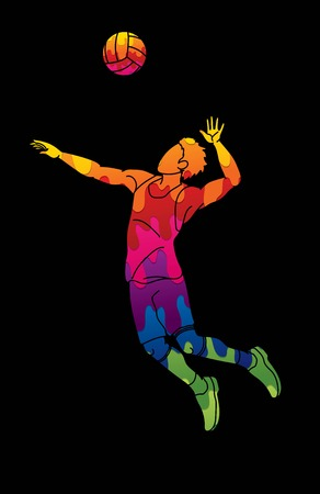 Man volleyball player jumping action cartoon graphic vector