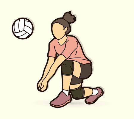 Woman volleyball player action cartoon graphic vector