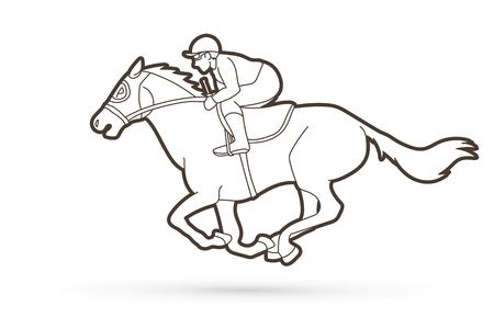Jockey riding horse cartoon sport graphic vector 일러스트