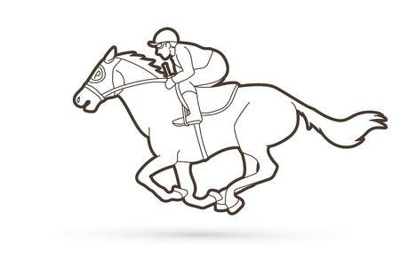 Vector gráfico de deporte de dibujos animados de jinete a caballo Ilustración de vector