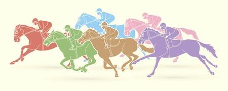 Gruppo di fantini a cavallo, vettore di grafica sportiva del fumetto di competizione sportiva Vettoriali