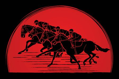 Group of Jockeys riding horse, sport competition cartoon sport graphic vector Vettoriali