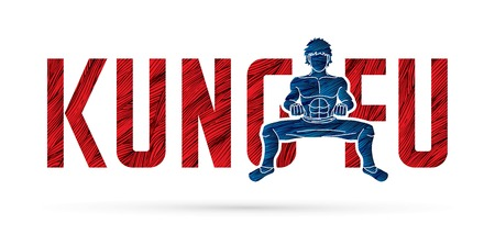 Kung Fu action designed with text , Font Kung fu graphic vector Vektorové ilustrace