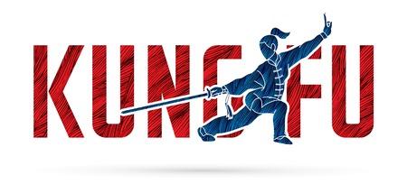 Azione di Kung Fu progettata con testo, vettore grafico di carattere Kung Fu