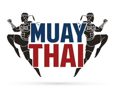 Muay Thai action , Thai boxing jumping to attack with text cartoon graphic vector 免版税图像 - 125071511