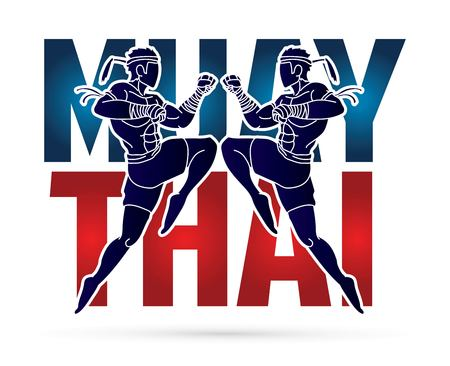 Muay Thai action , Thai boxing jumping to attack with text cartoon graphic vector