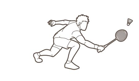 Badminton male player action with racket and shuttlecock cartoon graphic vector.