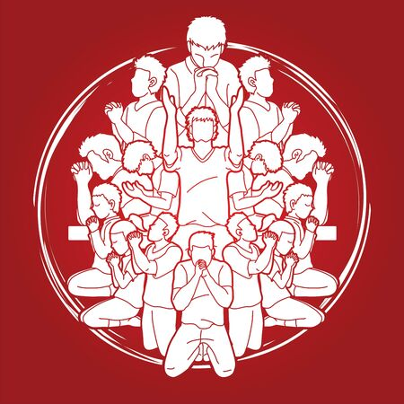 Group of People praying to God ,Prayer Unity cartoon graphic vector