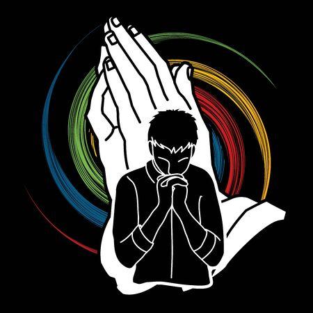 Hombre rezando a Dios, vector gráfico de dibujos animados de oración Ilustración de vector