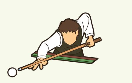 Snooker sport action cartoon graphic vector Иллюстрация