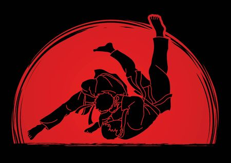Judo sport action cartoon graphic vector