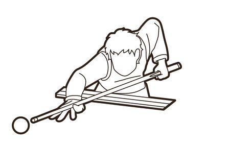 Snooker sport action cartoon graphic vector Illustration