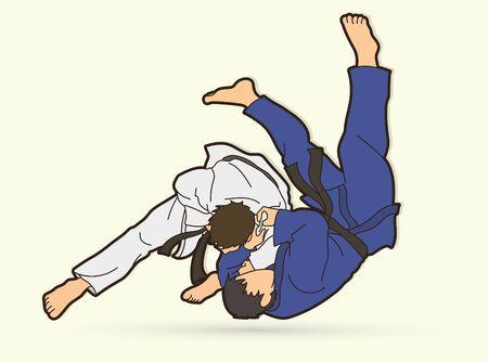 Judo sport action cartoon graphic vector. Vektorové ilustrace