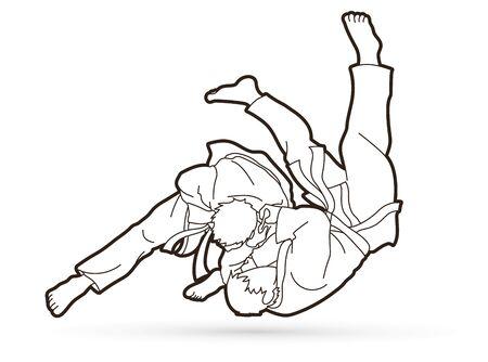 Judo-Sport-Action-Cartoon-Grafik-Vektor. Vektorgrafik