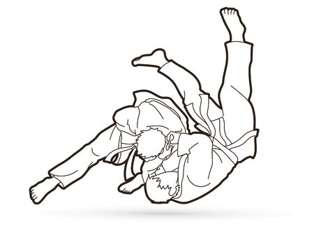 Judo sport action cartoon graphic vector.
