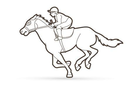 Jockey on horse, Horse racing cartoon graphic vector.