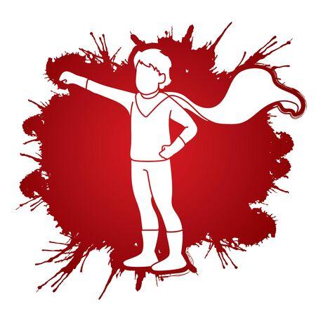 Vector gráfico de dibujos animados de acción de Little Boy Super Hero Ilustración de vector