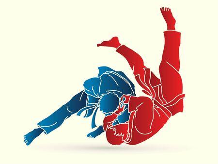 Vector gráfico de dibujos animados de acción deportiva de judo.