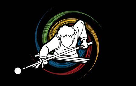 Snooker sport actie cartoon grafische vector