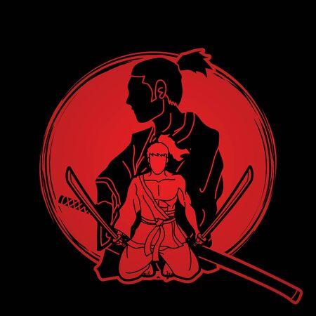 Guerriers samouraïs avec vecteur graphique de dessin animé d'action d'épées. Vecteurs