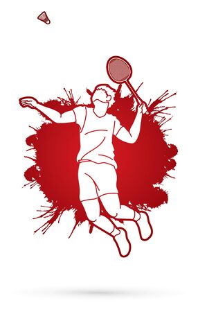 Badminton player action, Sport action cartoon graphic vector. 向量圖像
