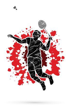 Badminton player action, Sport action cartoon graphic vector. Illustration