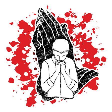 A man prayer cartoon graphic vector.