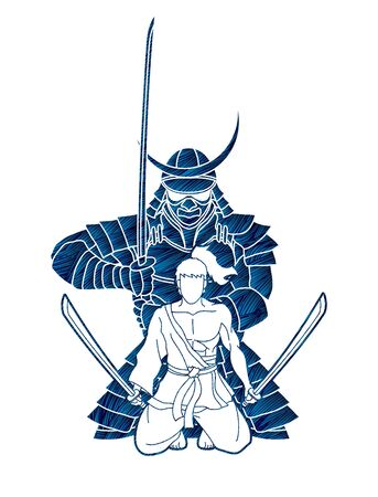 2 Samurai overlapped composition with swords cartoon graphic vector Ilustração