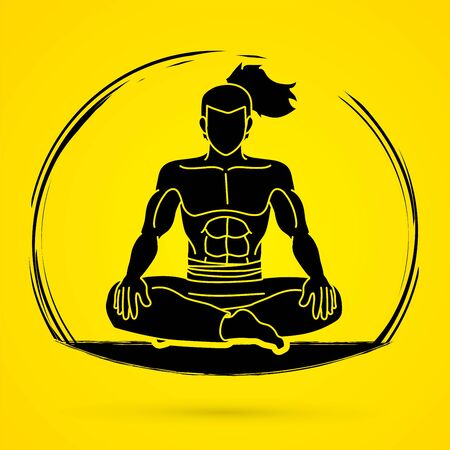 Samurai warrior sitting cartoon graphic vector.