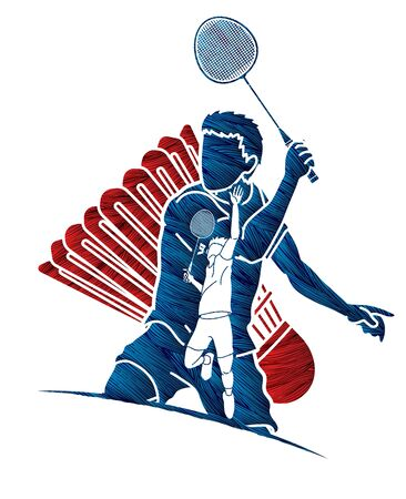 Badminton player action cartoon graphic vector.
