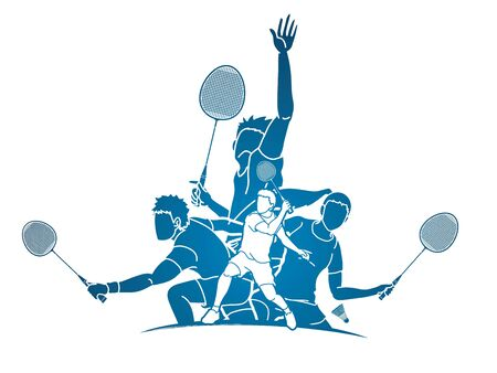 Group of Badminton player action cartoon graphic vector. Illustration