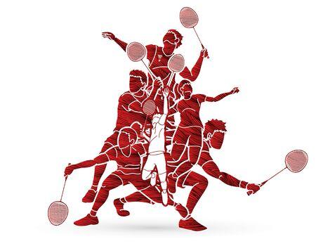Group of Badminton player action cartoon graphic vector. Ilustração