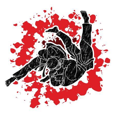 Judo action cartoon graphic vector