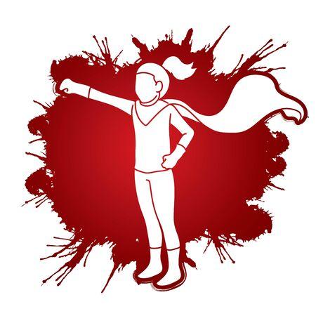 Little Girl Super Hero action cartoon graphic vector